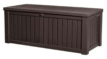 6: Keter Rockwood Plastic Deck Storage Container Box Outdoor Patio Garden Furniture 150 Gal, Brown