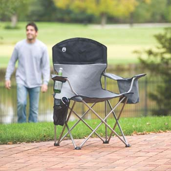 9. Coleman Oversized Black Camping Lawn Chairs + Cooler, 2-Pack   2000020256