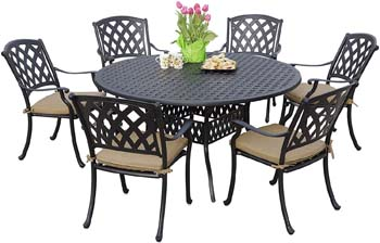 7: Darlee 201630-7PC-30D Cast Aluminum 7 Piece Round Dining Set & Seat Cushions, 60