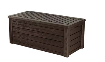 1: Keter Westwood Plastic Deck Storage Container Box Outdoor Patio Garden Furniture 150 Gal, Brown