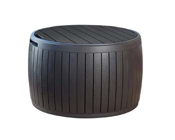 2: Keter 230897 Circa Natural Wood Style Round Outdoor Storage Table