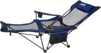 10: ANIGU Mesh Lounge Reclining Folding Camp Chair with Footrest