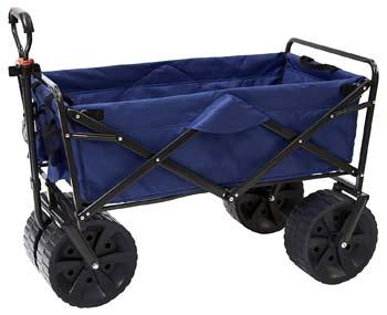 10: Mac Sports Heavy Duty Collapsible Folding All Terrain Utility Beach Wagon Cart, Blue/Black