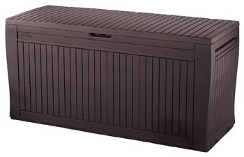 4: Keter Comfy 71 Gallon Resin Plastic Wood Look All Weather Outdoor Storage Deck Box, Brown
