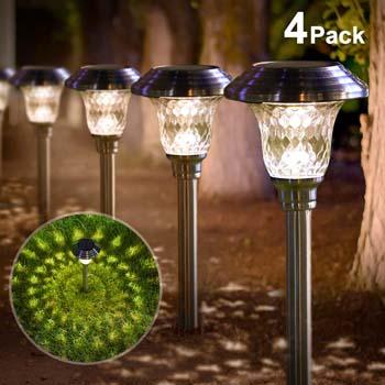 4: BEAU JARDIN Solar Lights Pathway Outdoor Garden Path Glass Stainless Steel