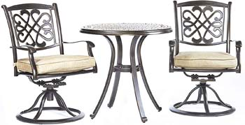 9. dali 3 Piece Bistro Set, Cast Aluminum Dining Table Patio Glider Chairs