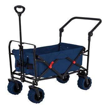 4: TCP Global Blue Wide Wheel Wagon All-Terrain Folding Collapsible Utility Wagon