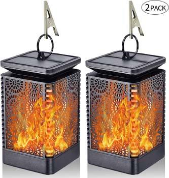 8: Yinuo Mirror Solar Lantern Lights Dancing Flame Waterproof Outdoor Hanging Lantern