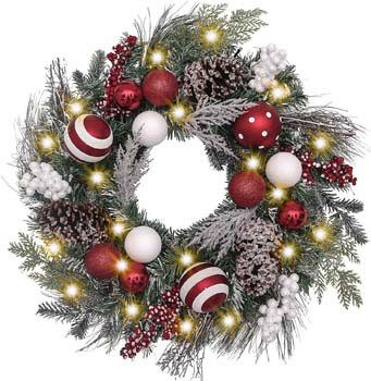 3: Valery Madelyn Pre-Lit 24 Inch Traditional Red White Christmas Wreath