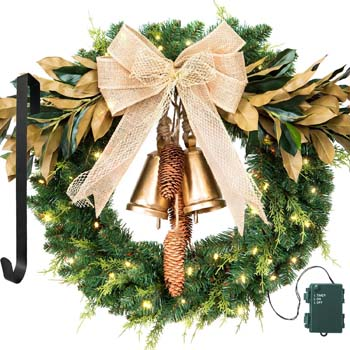 6: LIFEFAIR Christmas Wreath, with 75 Battery Operated LED Lights and Wreath Hanger