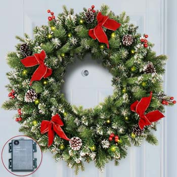 8: ANOTHERME Pre-lit 24 Inch Christmas Wreath 50 ClearLED Lights