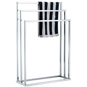 2: MyGift Freestanding Towel Rack, 3 Tier Metal Towel Bar Stand, Silver-Tone Chrome Plated