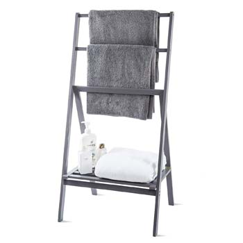 7: MyGift Freestanding 43-Inch Bamboo Folding Towel Stand with Shelf, Gray