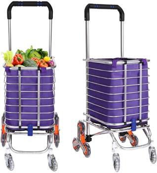 10. Folding Shopping Cart Grocery Utility Lightweight Stair Climbing Cart