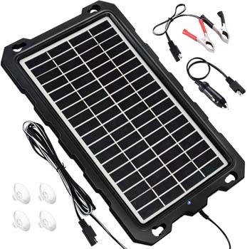 9. POWOXI Solar Battery Charger Car, 7.5W 12V Solar Trickle Charger