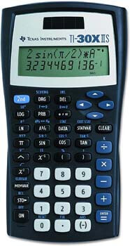 3. Texas Instruments TI-30X IIS 2-Line Scientific Calculator, Black with Blue Accents