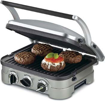 4. Cuisinart 5-in-1 Griddler, GR-4N, Silver with Silver/Black Dials