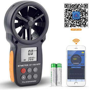 8. BTMETER Digital Wind Speed Anemometer Handheld, Wireless Bluetooth Vane Anemometer Meter