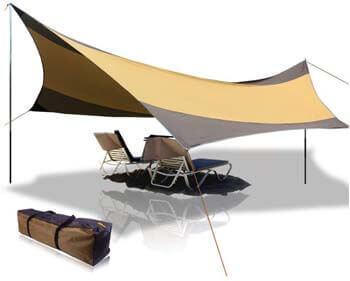 2. BaiYouDa Beach Tent Tarp 18x18 ft. 5-8 Person Lightweight Shelter Sun Shade Awning Canopy