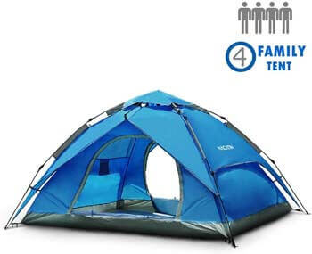 4. NACATIN 3-4 Person Family Camping Tent, Automatic Instant Pop up Tent