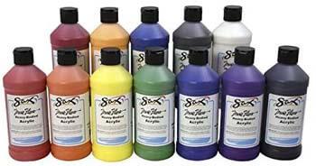 8. Sax True Flow Heavy Body Acrylic Paint Set, Pints, Assorted Colors, Set of 12 – 439304