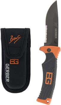 3. Gerber Bear Grylls Folding Sheath Knife, Serrated Edge [31-000752]