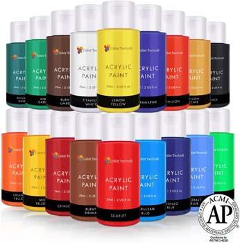 4. Color Technik Acrylic Paint Set, Artist Quality, Large Set