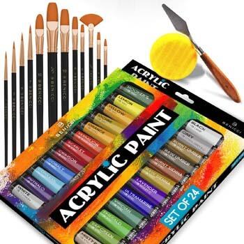 3. Benicci Complete Acrylic Paint Set – 24х Rich Pigment Colors