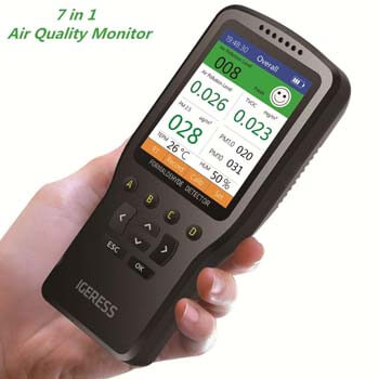 6. Air Quality Monitor IGERESS Multifunctional Indoor Pollution Detector Meter