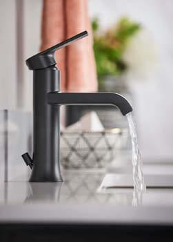 3. Moen 6702BL Genta One-Handle Single Hole Modern Bathroom Sink Faucet