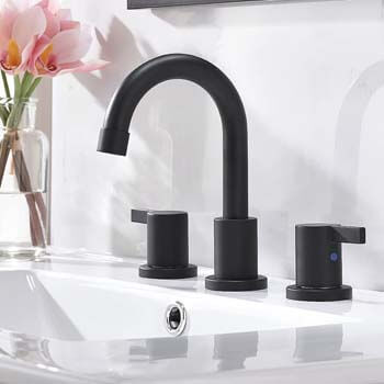 8. Phiestina 3-Hole Low-Arch 2-Handle Widespread Bathroom Faucets