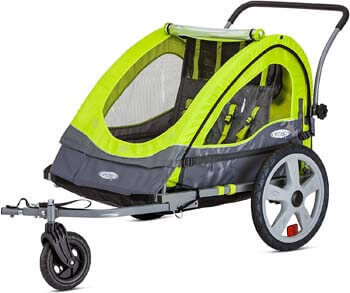 1. Instep Quick-N-EZ Double Tow Behind Bike Trailer, Converts to Stroller/Jogger