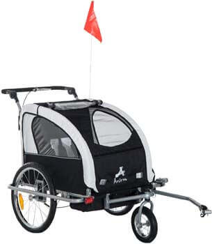 10. Aosom Elite 360 Swivel 2-in-1 Double Child Two-Wheel Bicycle Cargo Trailer