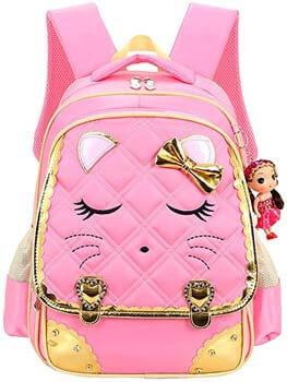 6. Cat Face Waterproof Girls Backpack Kids School Bookbag for Primary Students