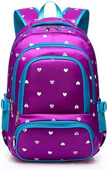 8. Fashion Girls Backpack for Kids Elementary School Bag Girly Bookbag