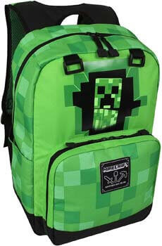 10. JINX Minecraft Creepy Creeper Kids School Backpack, Green, 17