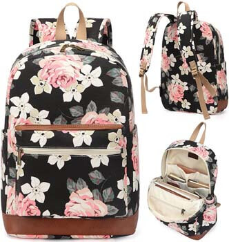 4. Kenox Girl's School Rucksack College Bookbag Lady Travel Backpack 14Inch Laptop Bag (Floral)