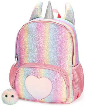 1. Mibasies Kids Unicorn Backpack for Girls Rainbow School Bag