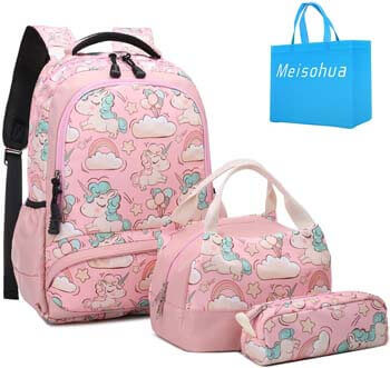 9. Meisohua School Backpacks Set Girls Unicorn Backpack
