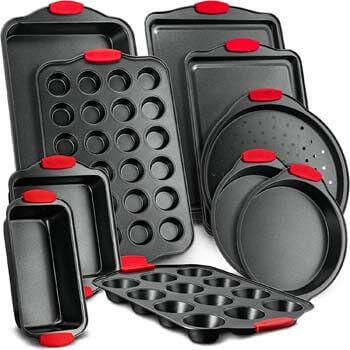 2. Nutrichef NCSBS10S 10-Piece Carbon Steel Nonstick Bakeware Baking Tray Set