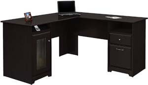1. Bush Furniture Cabot L Shaped Computer Desk in Espresso Oak