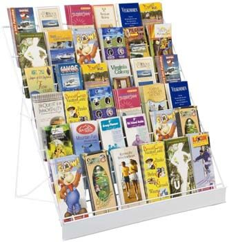 8. 6-Tier Wire Countertop Rack for Literature, Open Shelving Accommodates a Variety of Items, Small Sign Channel – White