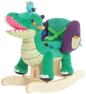 5. labebe Child Rocking Horse Toy, Stuffed Animal Rocker, Green Crocodile Plush Rocker Toy