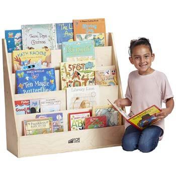 5. ECR4Kids Birch Streamline Book Display Stand, Wood Book Shelf Organizer for Kids, 5 Shelves, Natural