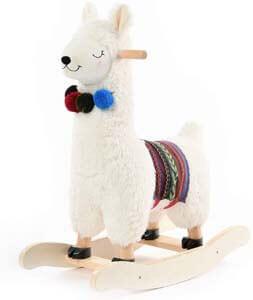 9. labebe - Baby Rocking Horse Wooden, Plush Stuffed Rocking Animals White