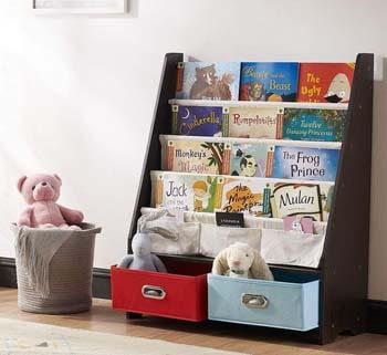 6. SEIRIONE Kids Bookshelf, 4 Sling Book Display Stand, 2 Cube Bins for Toy Storage Organizer, Espresso/Black, 27.6x11x34 Inches