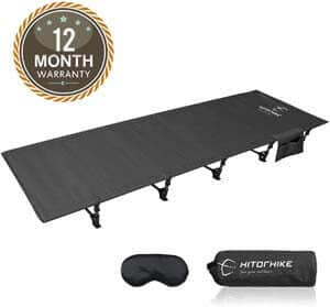 3. HITORHIKE Camping Cot Compact Folding Cot Bed for Outdoor Backpacking Camping Cot Bed