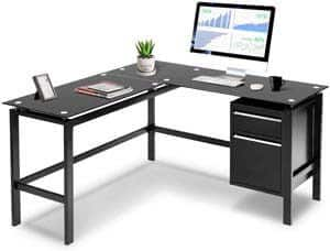 9. INVIE L-Shaped Desk with Drawers Corner Computer Desk PC Laptop Table Workstation