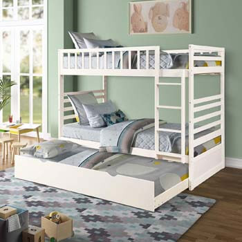 8. Twin Over Twin Bunk Bed, Rockjame Space Saving Design Sleeping Bedroom Furniture with Trundle Solid Wood Bunk Bed, Ladder and Safety Rail