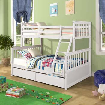5. Harper & Bright Designs Twin-Over-Full Bunk Bed with Ladders and Two Storage Drawers